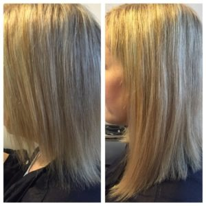 Before and After of blond hair extensions