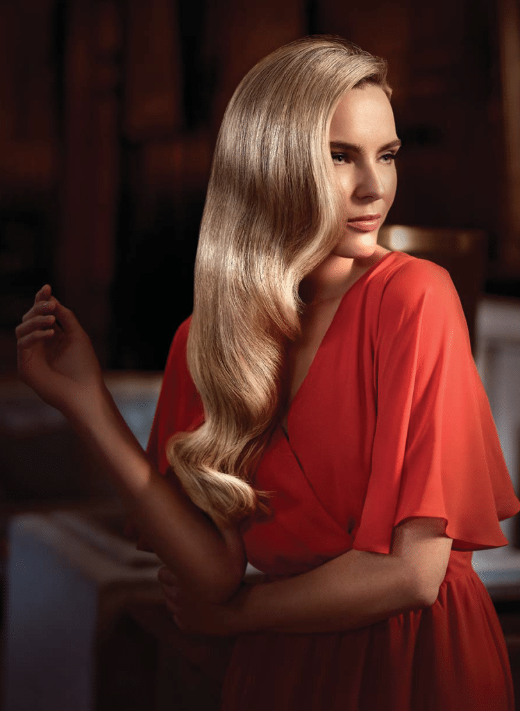 Long blonde great lengths hair extensions