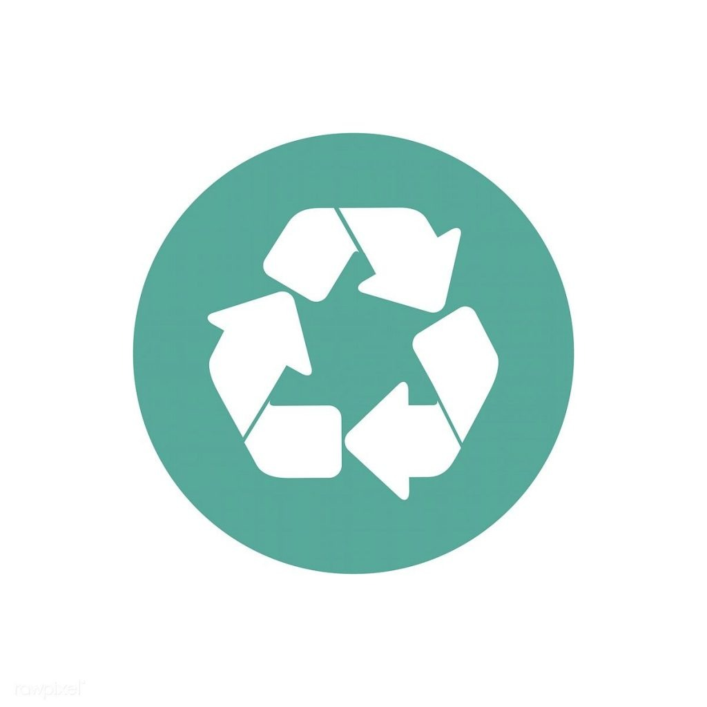White recycle icon in teal circle
