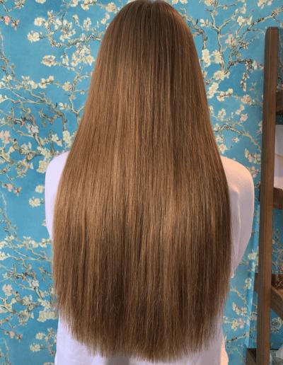 Long dark blonde hair extensions by bond hair